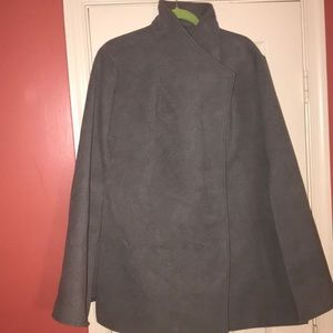 Grey high neck Double breasted snap front Cape 1x